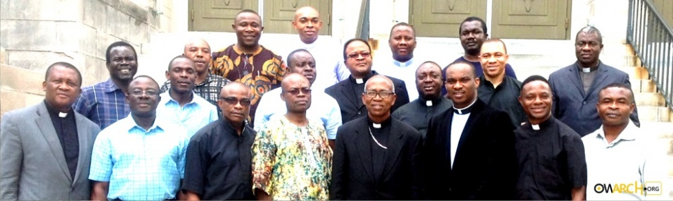 Priest of the Catholic Archdiocese of Owerri in the United States with Archbishop A.J.V. Obinna after their convention at Hartford Connecticut recently